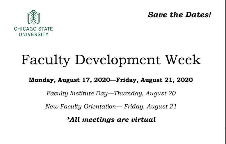 Faculty Development Week Fall 2020