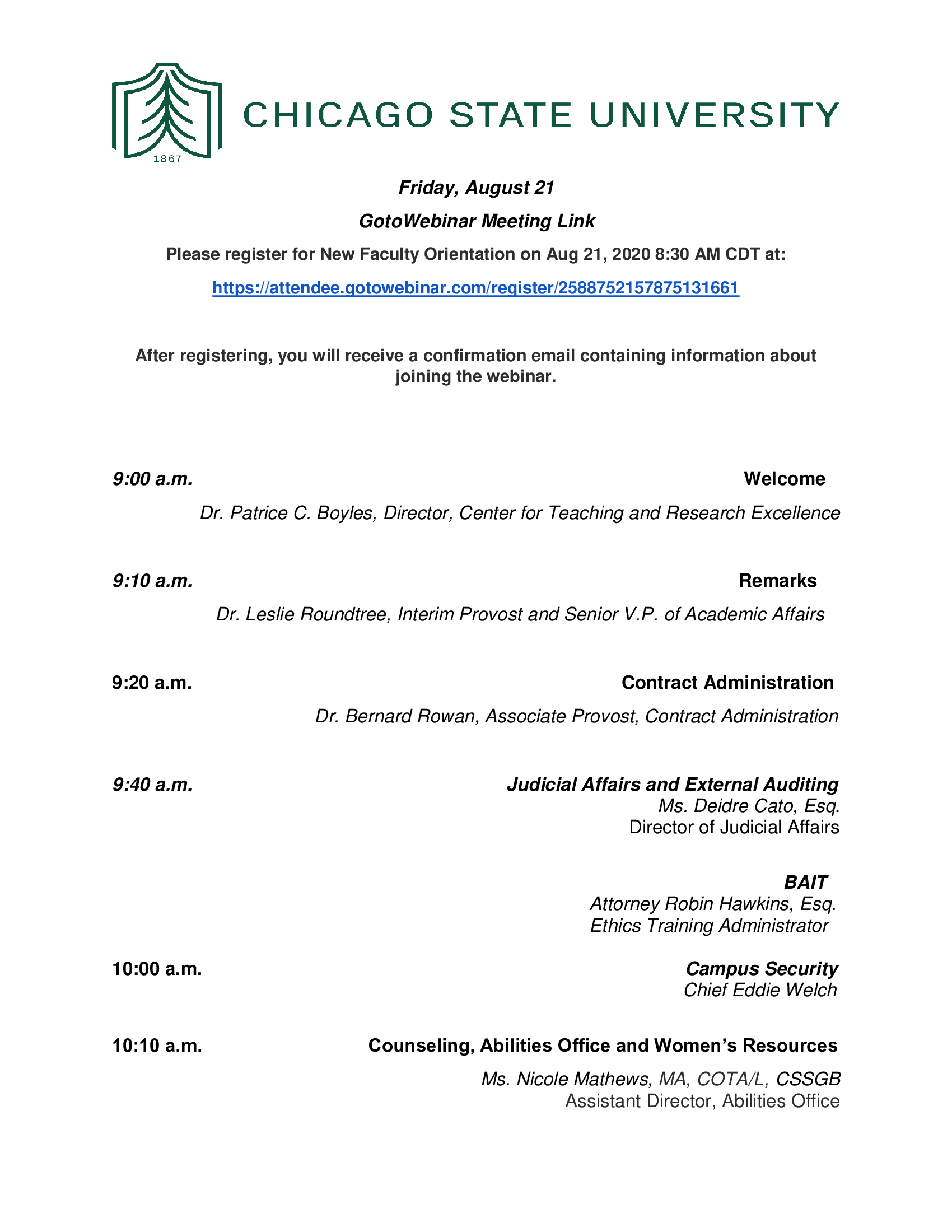 New Faculty Orientation, Friday, August 21, 2020 page 1 of 2